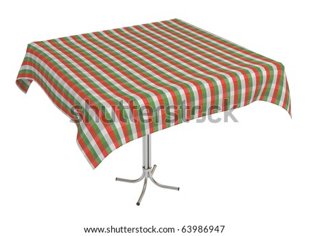 Table with cloth, clipping path included, 3d illustration, isolated on white