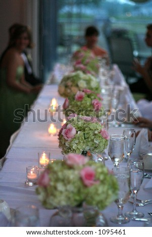 stock photo table with flowers at wedding reception