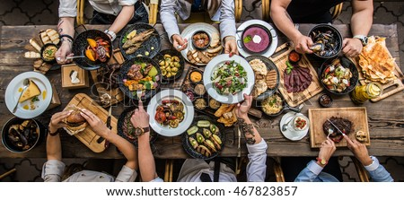 Photo of  table with food, top view