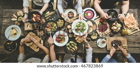 table with food, top view