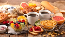 table with full healthy breakfast