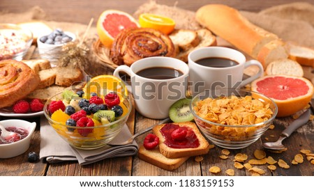 table with full healthy breakfast #1183159153