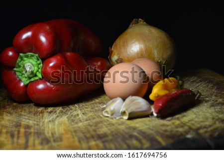 Table with natural food ingredients