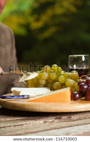Table with plate of red wine, cheese and grapes. Outdoor in autumn forest.