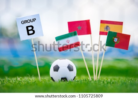 """Table with title """"Group B"""" National flags of Portugal, Spain, Morocco, IR Iran  #1105725809"""