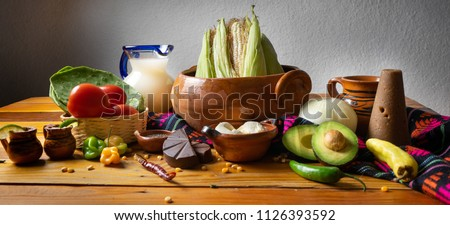 Table with traditional mexican ingredients Foto stock ©