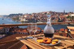 Table with view a wonderful view over the river in Porto, Portugal.