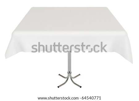Table with white cloth, isolated on white, clipping path included, 3d illustration