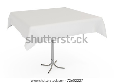 Table with white cloth, isolated on white with clipping path, 3d illustration