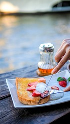 table wood, honey, strawberry, yogurt, butter toast, riverside restaurant, riverside, cuisine, dish, tasty, healthy, gourmet, fresh, delicious, food