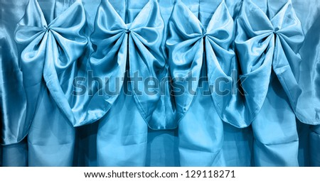 Tablecloth blue on table isolated on white background