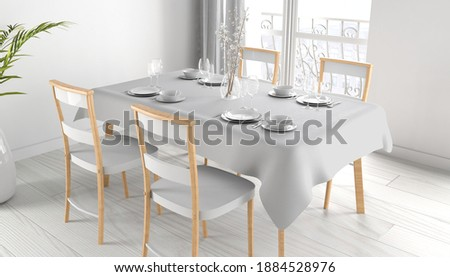 tablecloth mock up 3d rendering  Stockfoto ©
