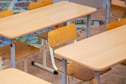 Tables and chairs for preschool and school classrooms, for teaching children general education subjects.