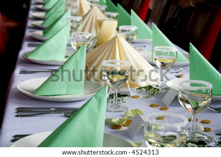 Tables beautifully set for a wedding reception