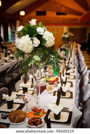 Tables decorated at the Wedding Reception