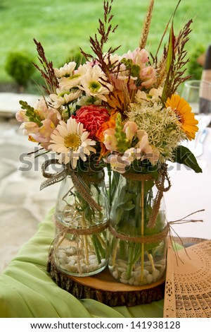 Tables decorated for a party or wedding reception