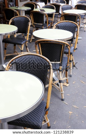 tables of the restaurant on the sidewalk