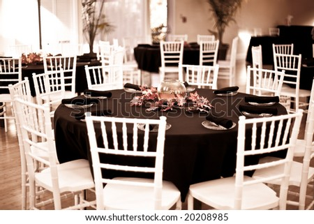 stock photo tables set up for wedding reception