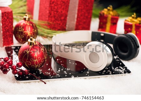 Tablet and headphone best christmas gift concept #746154463