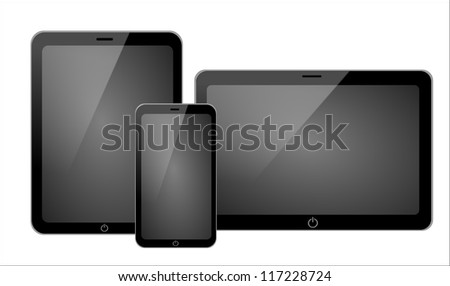 Tablet and smart phone isolated on white background