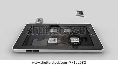 Tablet and smartphone apps falling into the display gadget - stock photo