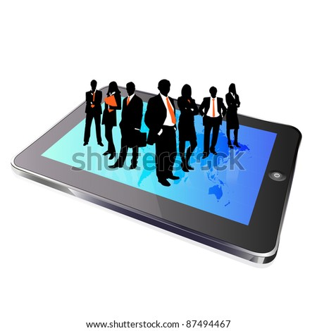 tablet business group silhouette - stock photo