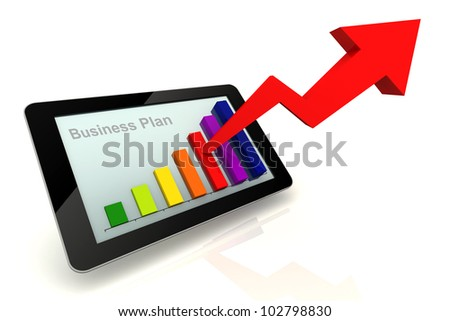 Tablet Chart colorful with Purpose Business plan