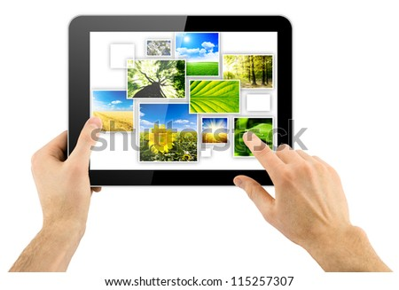 tablet computer and collage of natural photo in a hand isolated on white background