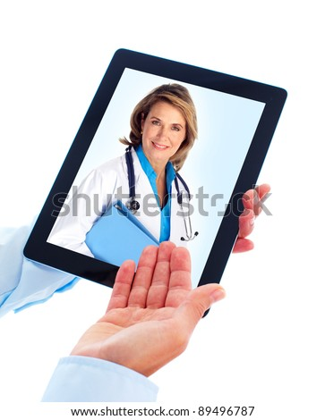 Tablet computer and doctor woman. Health care. Isolated on white background.
