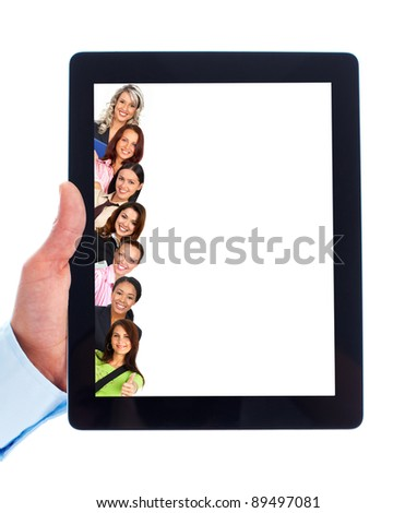 Tablet computer and group of students girl. Isolated on white background.