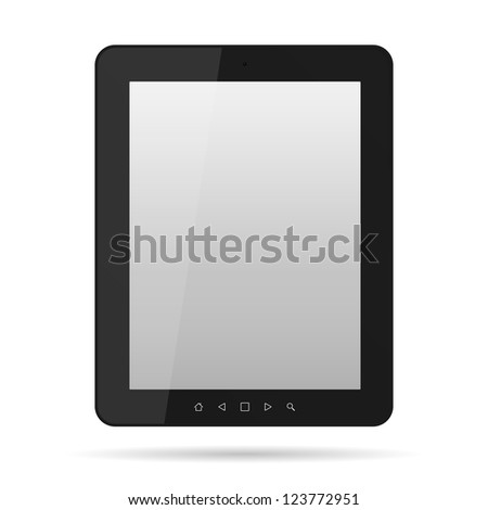 Tablet computer. Black frame tablet PC isolated on white
