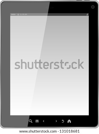 Tablet computer. Black frame tablet pc with screen. isolated on white background, raster