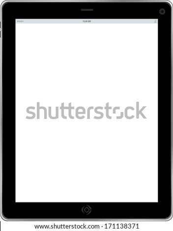 Tablet computer. Black frame tablet pc with white screen. isolated of background