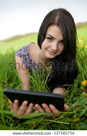 Tablet computer. Business woman using digital tablet computer PC