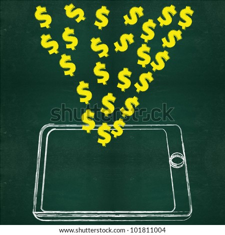 Tablet computer dollars on blackboard