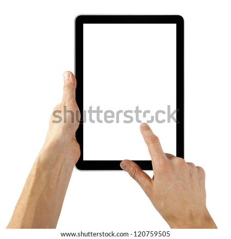 tablet computer isolated in a hand like ipades on the white backgrounds.   #120759505