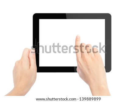 tablet computer isolated in a hand on the white backgrounds. #139889899