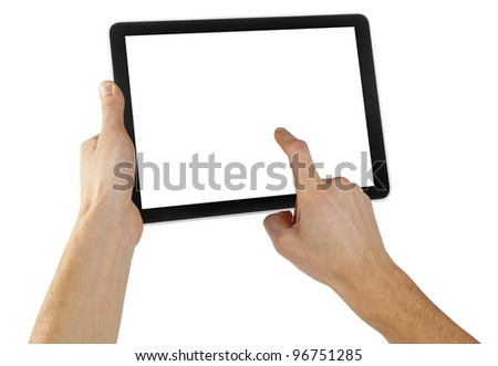 tablet computer isolated in a hand on the white backgrounds. #96751285