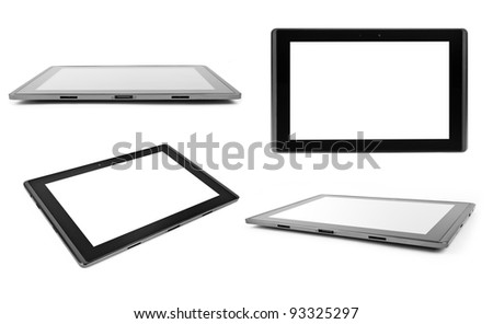 tablet computer isolated on the white backgrounds. collection