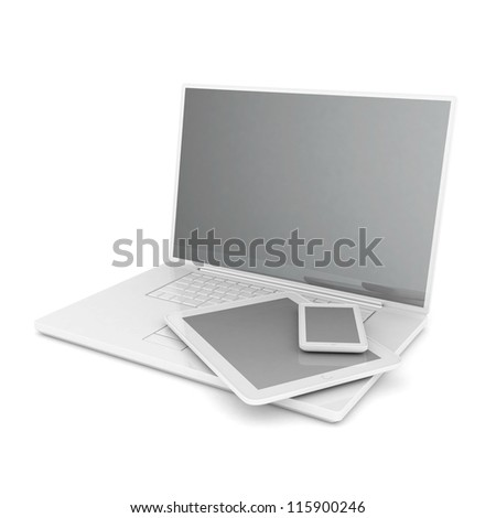 tablet computer isolated on white background