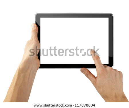 tablet computer like ipades isolated in a hand on the white backgrounds.