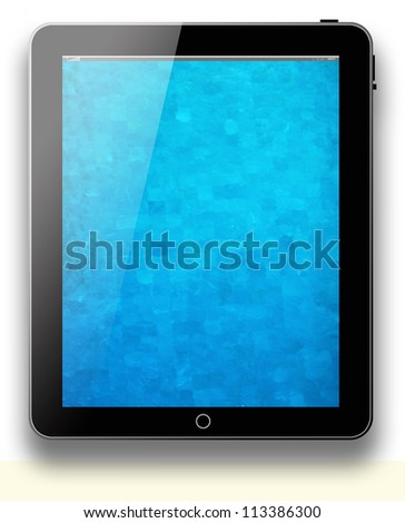 tablet computer pc blue bokeh background technology communication internet on white background for design
