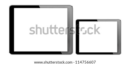 tablet computer pc (7 inches,10 inches) with isolated screen on white background + Clipping Path
