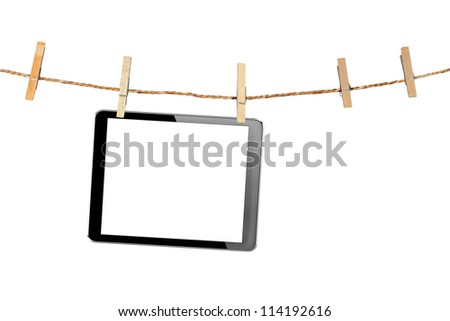 tablet computer pc with isolated screen in Wood clamps on white background