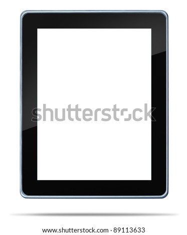 Tablet computer with a blank white digital display touch screen symbol of technology concept of computing media tool for digital content distribution for music e-books movies and internet browsing.