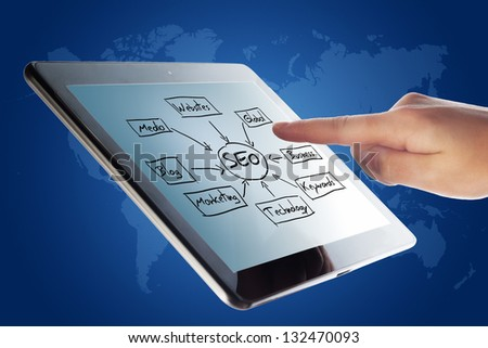 Tablet Computer with a SEO schema and a hand on blue background with world map