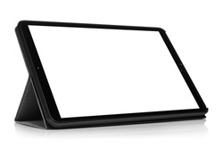 Tablet computer with blank screen, isolated on white background