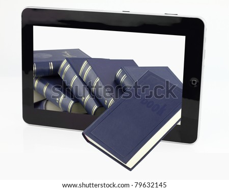 Tablet computer with books isolated on white