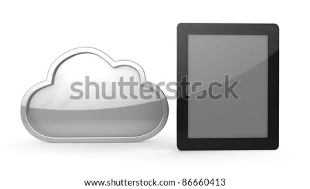 tablet computer with icon on white background