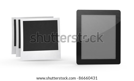 tablet computer with icon on white background - stock photo